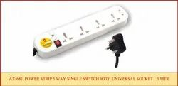 Power Strip 5 Way Single Switch with Universal SKTS