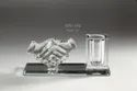 Hand Shake Crystal Glass Pen Stand Holder