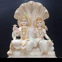 Lords Laxmi Narayan Jodi Gold Touch Multicolor Marble Statue