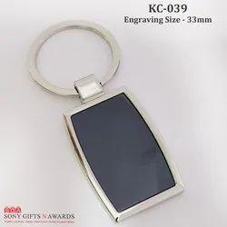 Black Rectangular Engraving Keychain Engravable Keyring