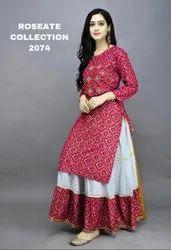 Rayon Cotton With Bandhej Print Suit