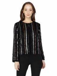 Attic Salt Velvet Sequin Stripes Jacket