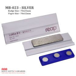 Silver Paper Insert Magnet Name Tags Badge