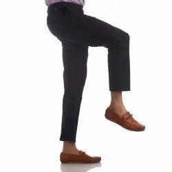 Finnoy Men Black Cotton Trouser