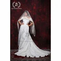 Anu Chauhan Imported Fabric Off Shoulder Wedding White Gown With Hand Work