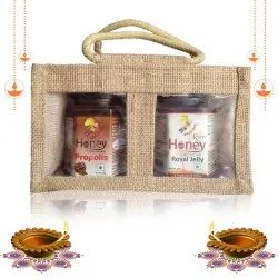Gift Pack Honey Enriched With Propolis, 225 G & Raw Honey Enriched With Royaljelly, 250 G