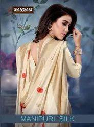 Sangam Manipuri Silk Weaving Silk Designer Fancy Saree Catalog