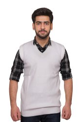 Kironik Sleeveless Men Acrylic Wool White Woolen Sweater