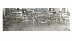 Ss 304 Silver Canteen Table, Seating Capacity: 8 Seater, Size: 45*45