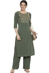 Women Kurta And Pant Set Polyester, Crepe (Green)