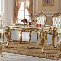 Wooden Golden Designed Dining Table