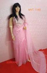 Pink Party Wear Net Cutwork Saree, Saree, Blouse Piece