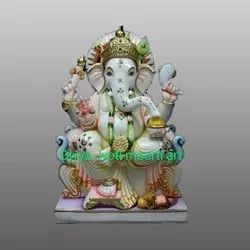 White Marble Gold Touch Lord Ganpati Statue