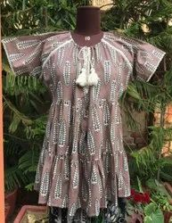 Printed Brown women one piece dress, Size: Frees Size