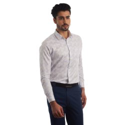 Full Sleeves Printed Finnoy Premium Giza Cotton Plain Shirt, Size: 38 - 44