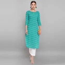 Janasya Women's Green Pure Cotton Kurta(JNE3571)