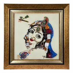 God Image Framed HAND-MADE GLASS PAINTING, For Wall Decoration
