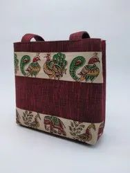 maroon Unisex Rubis Cotton printed Lunch Bag, For Casual Backpack