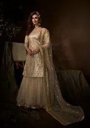 Sharara Semi-Stitched Designer Bridal Wear Salwar Kameez