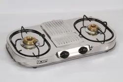 Silver Quba 2 Burners SS Body LPG Gas Stove, For Kitchen, Model Name/Number: SG 102