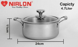 Nirlon Stainless Steel Platinum Triply Casserole With Glass Lid, 24 Cm