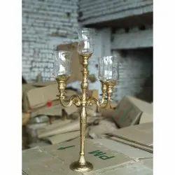 Glass Chimney Gold Candelabra