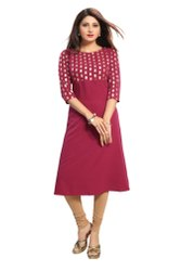 Women Gold Foil Printed Straight Kurta (Wine)