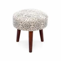 Natural Fibres Multicolor Wooden Round Stool, For Home, Size: 40x40x40 Cm