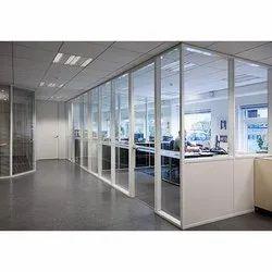 Silver Aluminium Glass Acoustic Office Partition