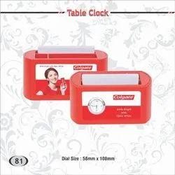 Multicolor Plastic Table Clock ( Colgate), Shape: Round, Size: Dia 58 Mm X 108 Mm