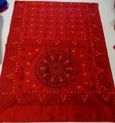 Party Wear Ladies Red Printed Cotton Silk Saree, 6.3 m (with blouse piece)