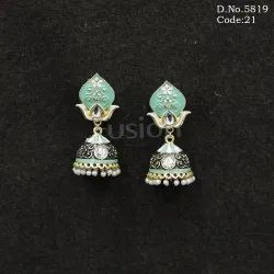 Ethnic Meenakari Jhumka Earrings