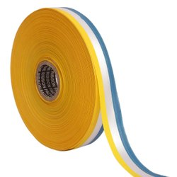 Double Satin Medallion - Yellow, White, Blue Ribbons 25mm/1Inch 20mtr Length