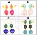 Trendy Gold Plated Multi Stone Stud And Hoop Earrings For Women