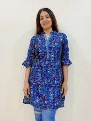 Digital Chanderi Silk Stylish Tunic Top