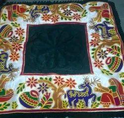 Raw Silk Embroidery Green Banglori Satin Fabric