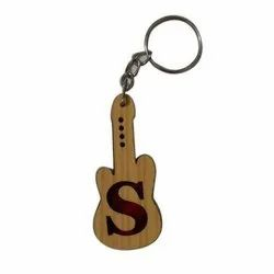 Natural Wood Color Guitar Wooden Keychain