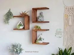 Brown Three Sided Square Floating Sheesham Wood Shelf, For Home