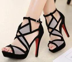 Pumps Heels Black Ladies Designer Heel Sandal, Size: 4.5