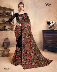 Black Color Kashmiri Work Saree
