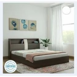 Plywood Brown Designer Fancy Double Bed, Pillow Back