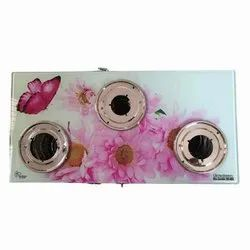 3 Burner Butterfly Print Glass Top Gas Stove