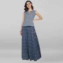Janasya Women's Blue Pure Cotton Top With Skirt(J0092)