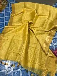 Party Wear Mustard Art Munga Check Silk Saree, 6.3 m (with blouse piece)