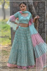 Semi-Stitched Wedding Wear Designer Bridal Lehenga, Size: waist-42