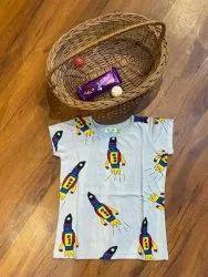 Lycra Cotton Round Beaus Rocket T Shirts, Size: Up to 7 Year