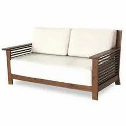 White,Brown Two Seater Wooden Sofa