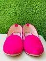 Women Fabric Rexine Pink Plain Belly, Size: 35-42