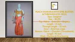 Peach Embroidered Ladies Designer Dress
