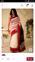 Casual Wear Printed Ladies Designer Cotton Saree, 6.3 m(with blouse piece)